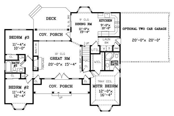 Country Floor Plan - Main Floor Plan Plan #456-2