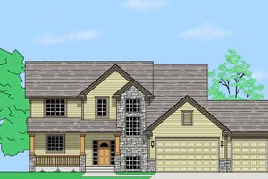 Architectural House Design - Prairie Exterior - Front Elevation Plan #981-5