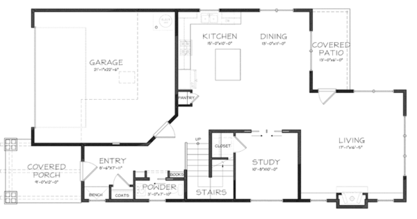 Craftsman Floor Plan - Main Floor Plan Plan #895-80