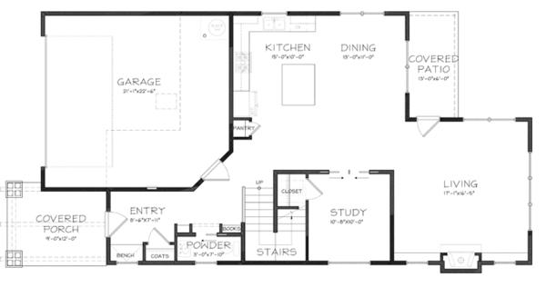 House Plan Design - Craftsman Floor Plan - Main Floor Plan #895-80
