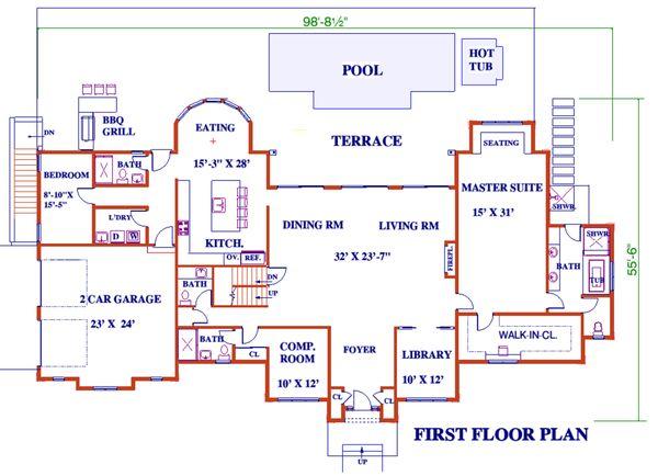 Architectural House Design - European Floor Plan - Main Floor Plan #3-343