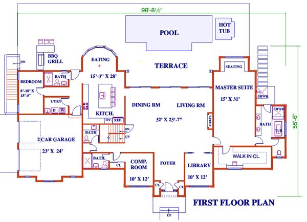 Dream House Plan - European Floor Plan - Main Floor Plan #3-343