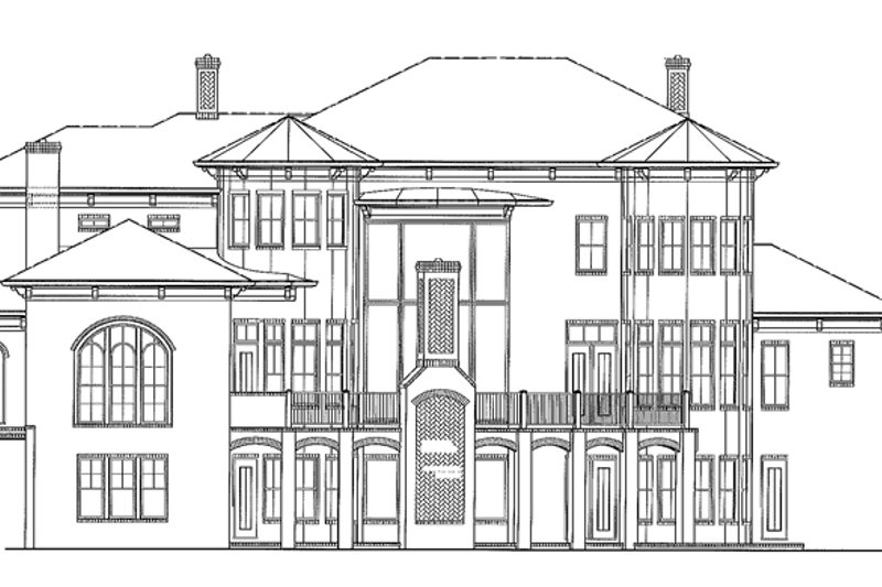 Mediterranean Exterior - Rear Elevation Plan #54-284 - Houseplans.com