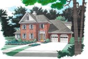 European Style House Plan - 4 Beds 2.5 Baths 2333 Sq/Ft Plan #56-179 Exterior - Other Elevation