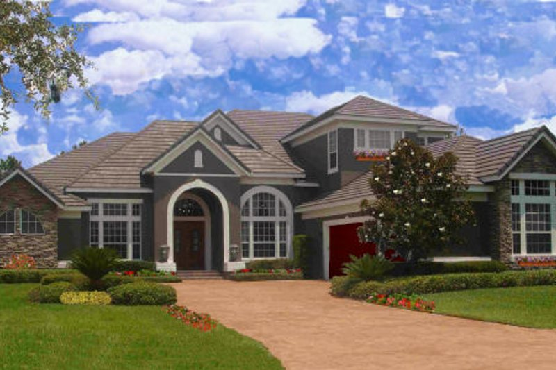 European Style House Plan - 6 Beds 5 Baths 5319 Sq/Ft Plan #135-215 Exterior - Front Elevation