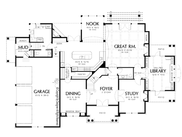 Craftsman Floor Plan - Main Floor Plan Plan #48-854