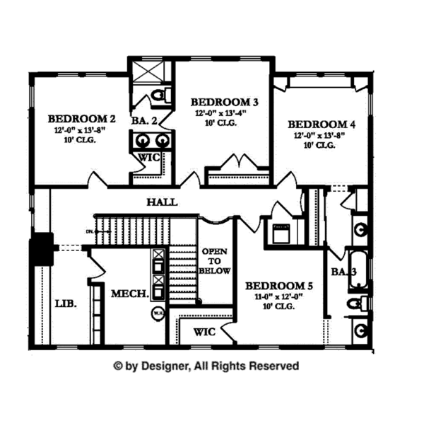 Colonial Floor Plan - Upper Floor Plan Plan #1058-9