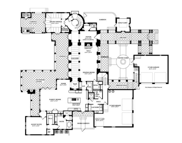 Mediterranean Floor Plan - Main Floor Plan Plan #1058-16