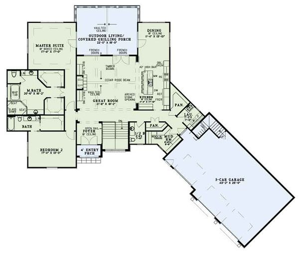 Ranch Floor Plan - Main Floor Plan Plan #17-3404