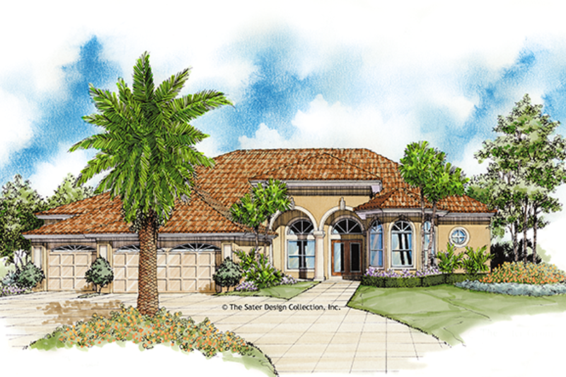 Architectural House Design - Mediterranean Exterior - Front Elevation Plan #930-35
