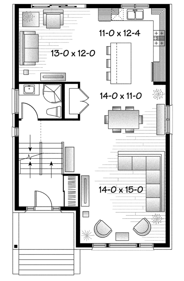 Contemporary Floor Plan - Main Floor Plan Plan #23-2584