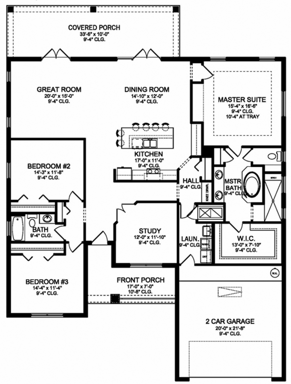 Colonial Floor Plan - Main Floor Plan Plan #1058-124