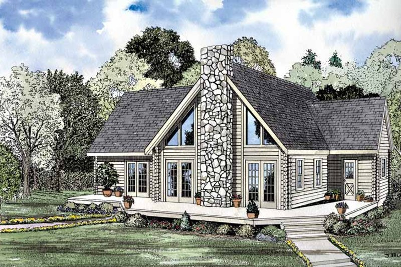 Log Exterior - Front Elevation Plan #17-3198