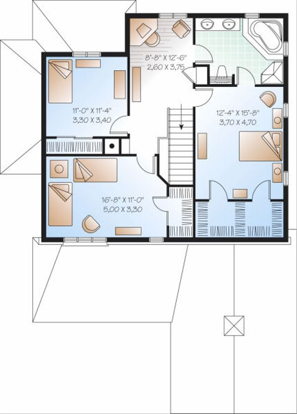 Traditional Floor Plan - Upper Floor Plan Plan #23-837