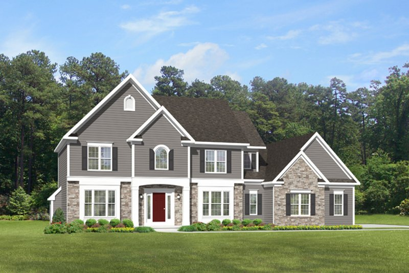 Architectural House Design - Colonial Exterior - Front Elevation Plan #1010-95