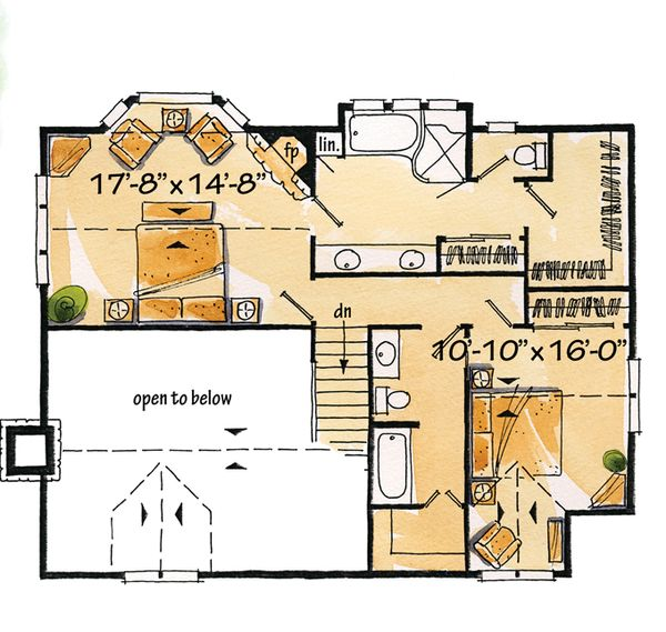 Log Floor Plan - Upper Floor Plan Plan #942-18