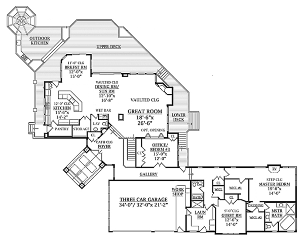 Contemporary Floor Plan - Main Floor Plan Plan #314-287