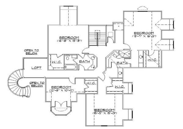 European Floor Plan - Upper Floor Plan Plan #5-445