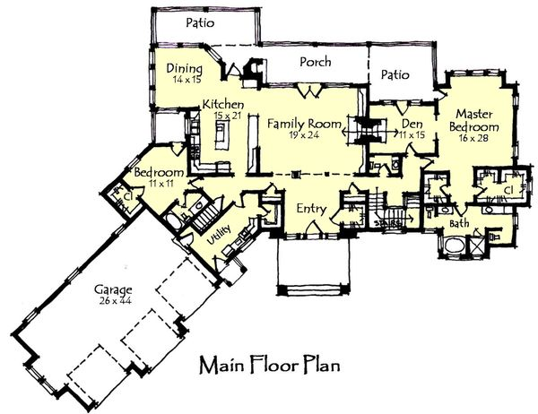 Craftsman Floor Plan - Main Floor Plan Plan #921-23