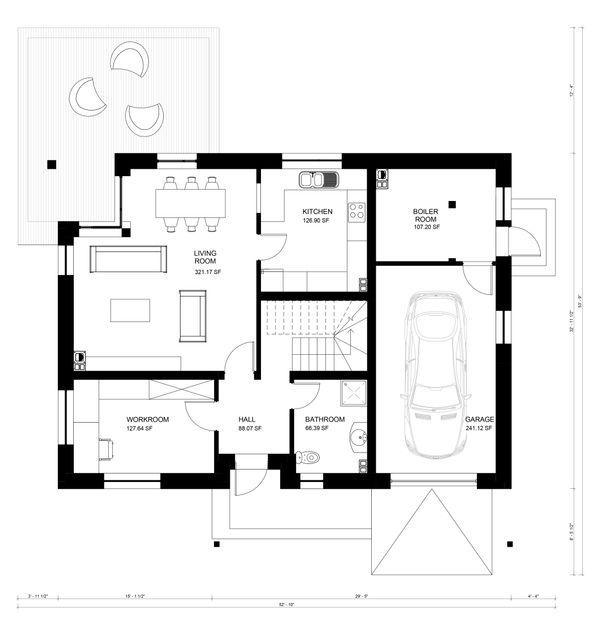 Contemporary Floor Plan - Main Floor Plan Plan #906-18