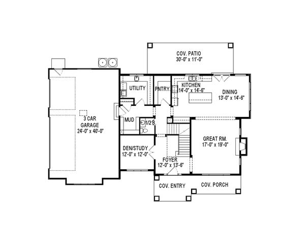 Craftsman Floor Plan - Main Floor Plan Plan #920-74