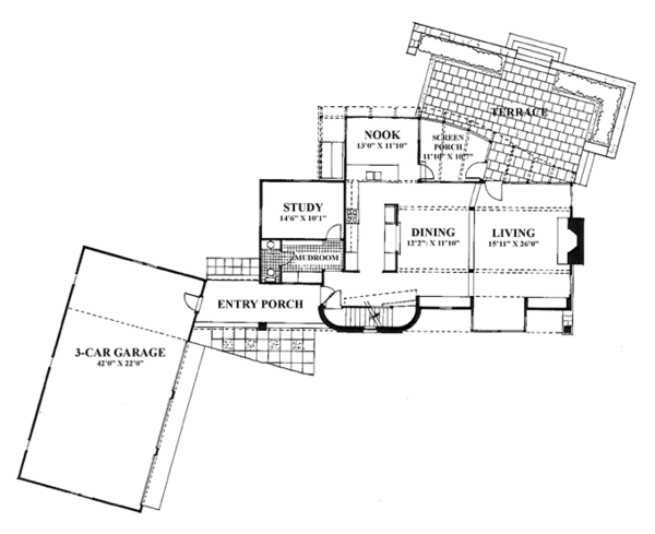 Craftsman Floor Plan - Upper Floor Plan Plan #961-2