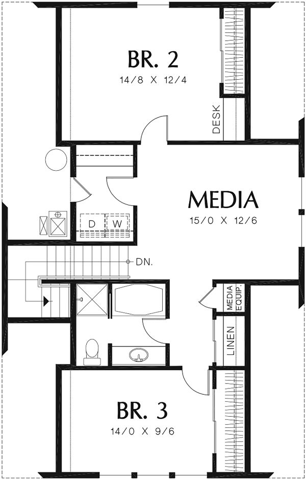 Beach Floor Plan - Upper Floor Plan Plan #48-974