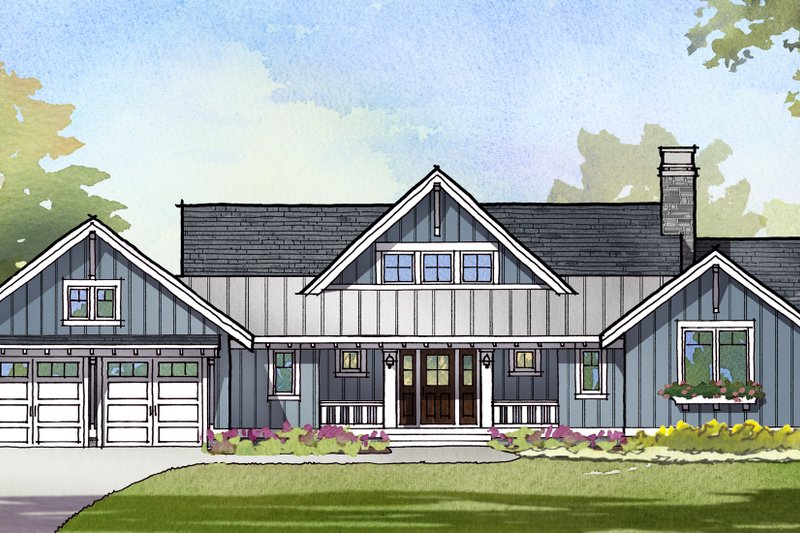Ranch Style House Plan - 3 Beds 2.5 Baths 2679 Sq/Ft Plan #901-128 Exterior - Front Elevation