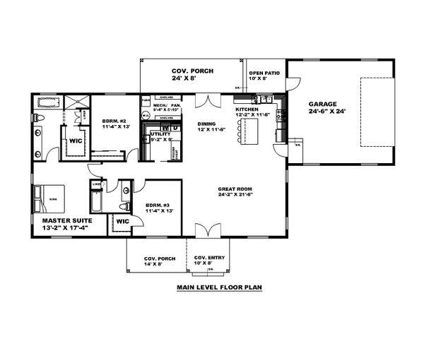 Architectural House Design - Craftsman Floor Plan - Main Floor Plan #117-911