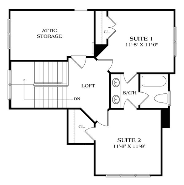 Craftsman Floor Plan - Upper Floor Plan Plan #453-620