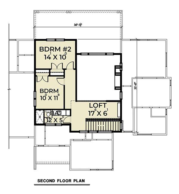 Contemporary Floor Plan - Upper Floor Plan Plan #1070-44