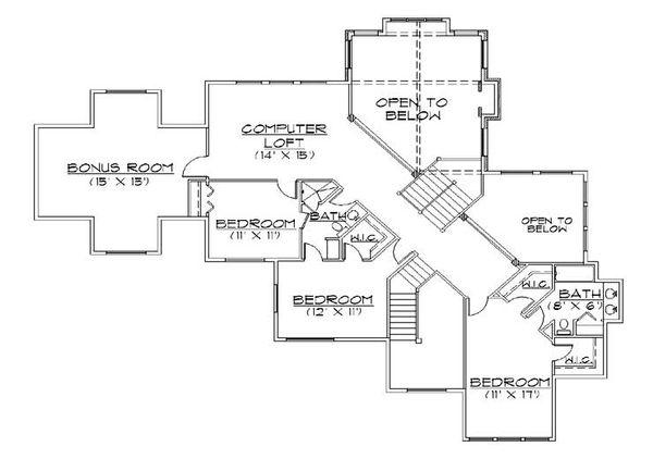 European Floor Plan - Upper Floor Plan Plan #5-434