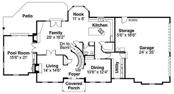 European Floor Plan - Main Floor Plan Plan #124-271
