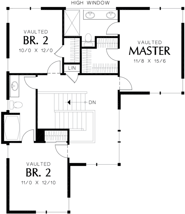 Contemporary Floor Plan - Upper Floor Plan Plan #48-692