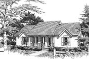 European Style House Plan - 3 Beds 2 Baths 1515 Sq/Ft Plan #14-128
