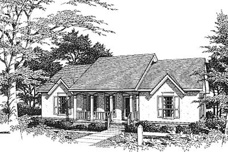 European Exterior - Front Elevation Plan #14-128