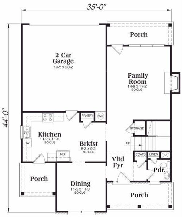 Traditional Floor Plan - Main Floor Plan Plan #419-129