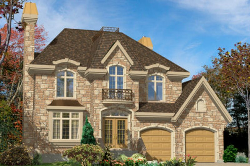 European Style House Plan - 4 Beds 2.5 Baths 2459 Sq/Ft Plan #138-247 Exterior - Front Elevation