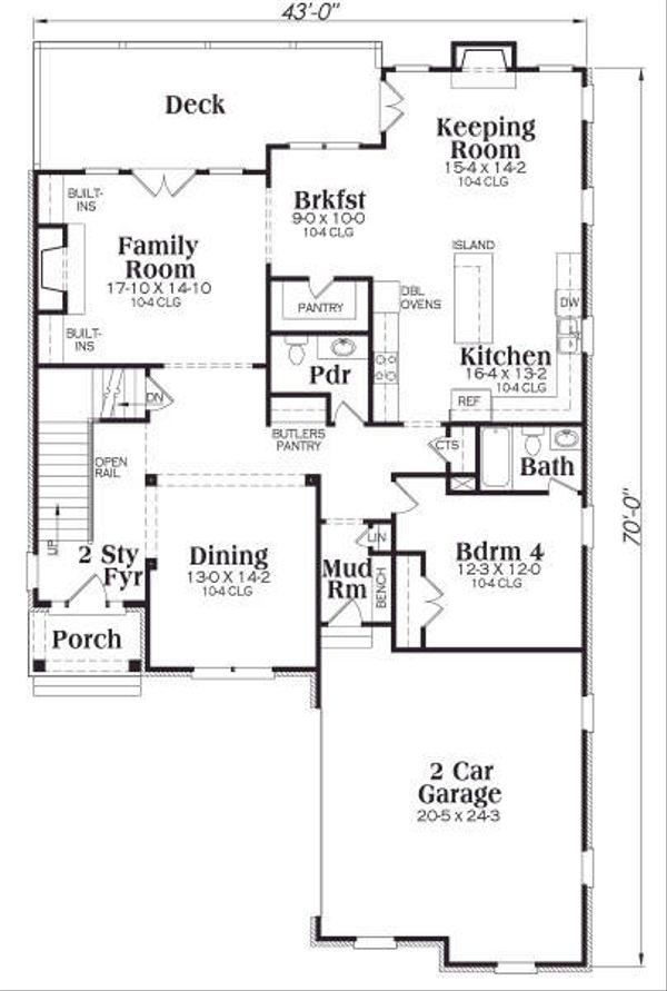 European Floor Plan - Main Floor Plan Plan #419-156