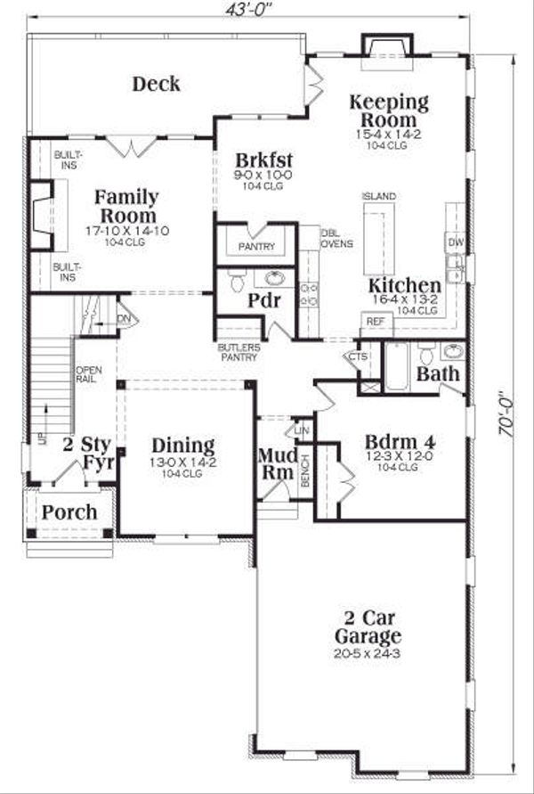 European Floor Plan - Main Floor Plan Plan #419-156