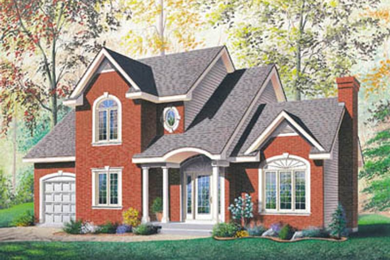 European Style House Plan - 3 Beds 1.5 Baths 1717 Sq/Ft Plan #23-2133 Exterior - Front Elevation