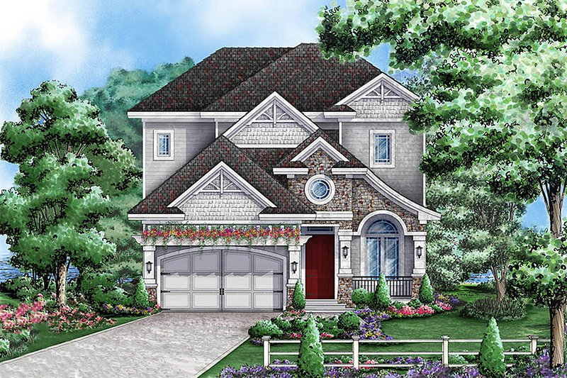 Traditional Style House Plan - 3 Beds 3 Baths 5521 Sq/Ft Plan #27-470 Exterior - Front Elevation