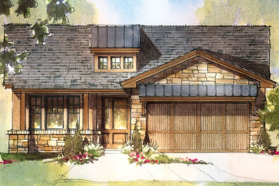 Bungalow Exterior - Front Elevation Plan #935-8