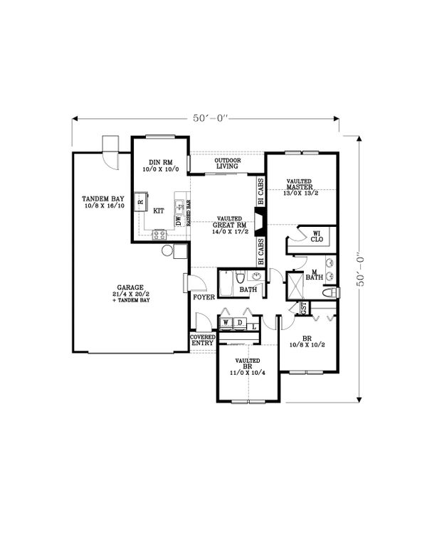 Craftsman Floor Plan - Main Floor Plan Plan #53-611