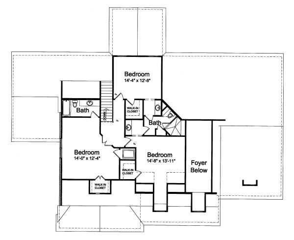 Traditional Floor Plan - Upper Floor Plan Plan #46-406
