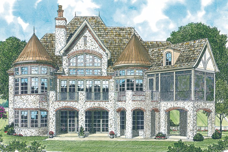 European Exterior - Rear Elevation Plan #453-34 - Houseplans.com