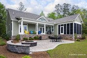 Ranch Style House Plan - 4 Beds 3 Baths 2494 Sq/Ft Plan #929-1005 Exterior - Rear Elevation