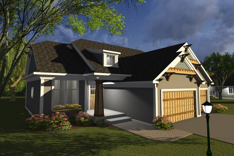 Ranch Style House Plan - 3 Beds 2 Baths 1796 Sq/Ft Plan #70-1243 Exterior - Front Elevation