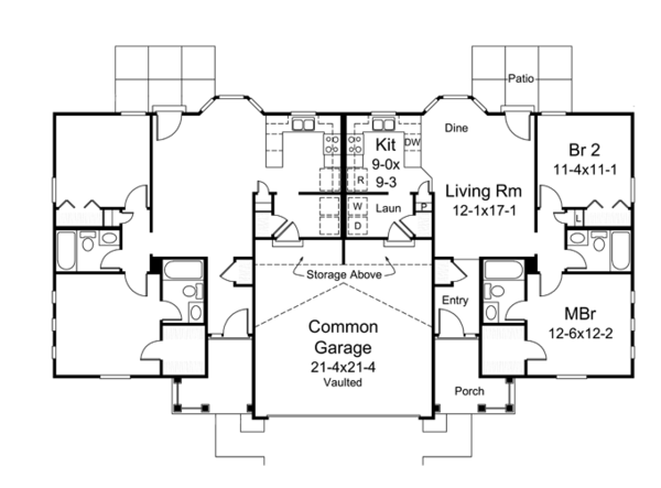 Colonial Floor Plan - Main Floor Plan Plan #57-636