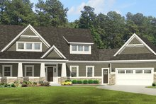 Craftsman Exterior - Front Elevation Plan #1010-110